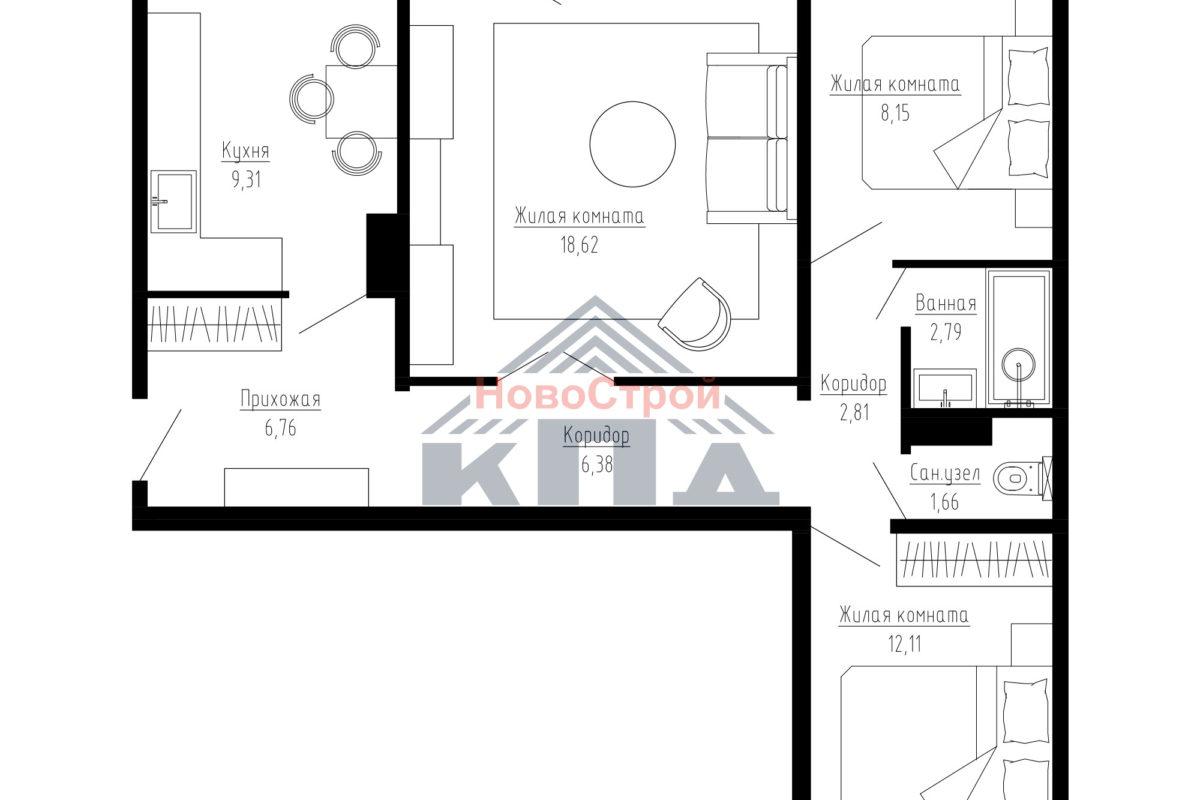 Продам 3-комн. квартиру по адресу Российская федерация, Омская область, Омск, Бисяриной, 3 фото 3 по выгодной цене